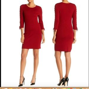 Nina Leonard Lace-up Sleeve Sweater Sheath Dress